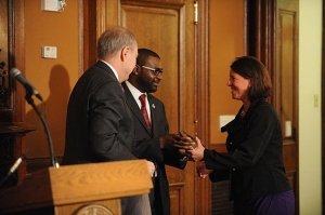 Jeff & Director of AmeriCorps Bill Basl present the 2012 Mayor's Community Service Awards to DC Alums Chapter Leader Stephanie Vestal.