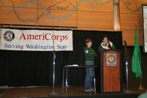 Andrea with her fellow AmeriCorps Leader Alex Bruner from the Washington Service Corps conducting the roll call for a few hundred members at the AmeriCorps Launch Event in Seattle on Oct 12th 2012.