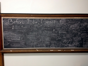 A Chalkboard from Lindy's classroom