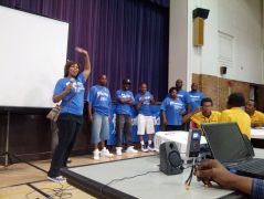 YouthBuild Alums introducing themselves and getting the group pumped for the day's events.