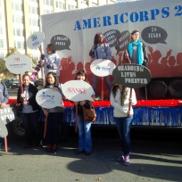AmeriCorps Alums and current members prepare to march in Dallas' MLK, Jr. Day parade