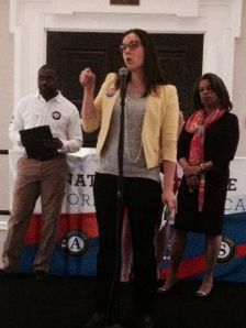 AMERICORPS ALUMS Co-Executive Director Mary Bruce rallies the crowd during 2014 Mayor's Day of Recognition