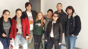 Emily (second from left) with freshmen from Wagner College's Bonner Leader Program in the house they rebuilt with help from the Yellow Boots organization after Hurricane Sandy