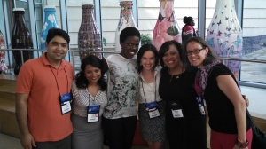 Abby Flottemesch (far right) enjoying a reunion with the service family, including (from l to r) Atlas Corps Fellows Fayyaz Bhidal (Pakistan), Trina Talukdar (India), Jennifer Obado-Joel (Nigeria), and Victoria Dangond (Colombia)  with Delores Morton (President of Programs at Points of Light).