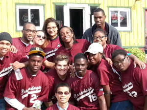 Melissa with Job Corps students at the Damon Janes Memorial Benefit (09/2013)