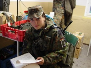 Birte during a training exercise with the Army in 2003