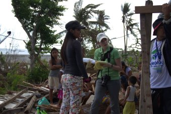 Loren interview Melanie, a survivor of Typhoon Haiyan who lost her house in the storm. Melanie received shelter repair materials from Lutheran World Relief, as well as a voucher from another NGO responding to the storm.