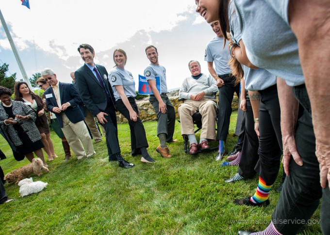 Check out the socks AmeriCorps members wore to meet President George H.W. Bush. (Corporation for National and Community Service Photo.)