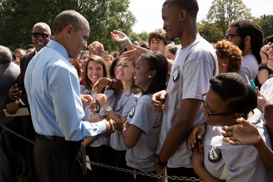 President Barack Obama greets participants after remarks to mark the 20th anniversary of the AmeriCorps national service program, on the South Lawn of the White House, Sept. 12, 2014. (Official White House Photo by Pete Souza)