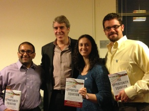 AmeriCorps Alums staff with Eric Schwarz. From left to right: Greg Heinrich, Eric Schwarz, Maria Caruso, and Ben Duda.