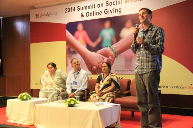 Michael moderating a GlobalGiving panel in Delhi, India, on online fundraising