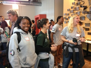 AmeriCorps members from Youth Villages mingling with other alums, and Eric Schwarz