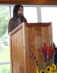 Caitlyn speaking to incoming students at September's convocation ceremony