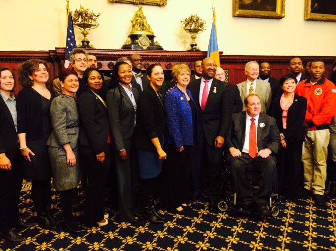 AmeriCorps Alums Co-Executive Director, Mary Bruce (left-center) with CNCS CEO, Wendy Spencer, Mayor Nutter,  and City of Philadelphia Employers