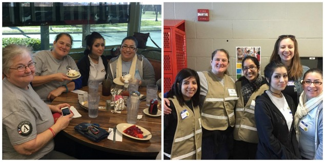 NTX AmeriCorps Alums volunteer and meet up later for dessert and conversation about community challenges.