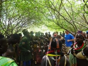 Nick dancing at a community meeting in South Sudan