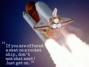 rocket ship with sandburg quote