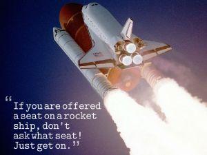 rocket ship with sandburg quote