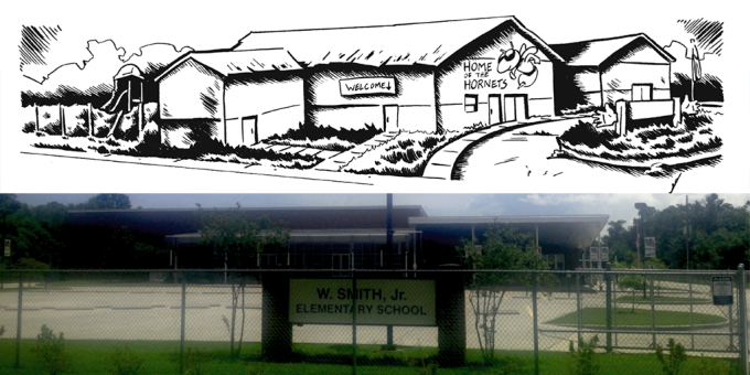The original Camp Hope (aka Camp Believe in the graphic novel) has now been torn down, replaced by a brand-new elementary school!