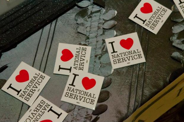 I Love National Service Stickers